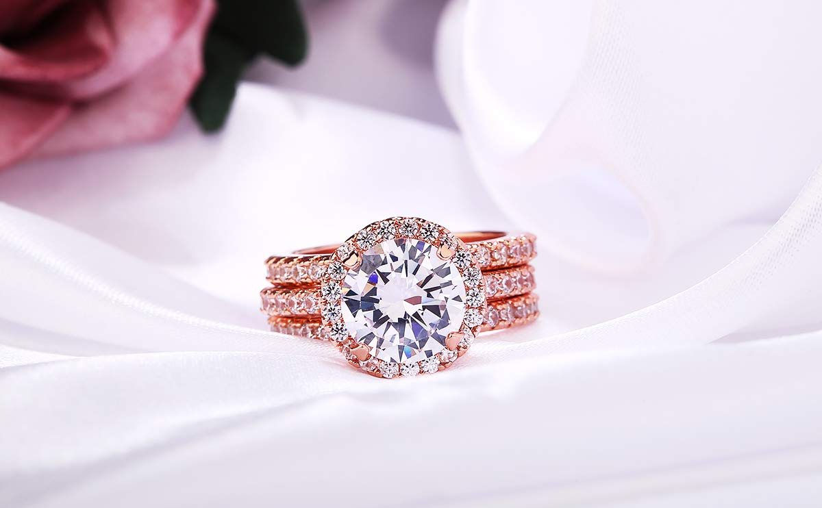 3 Carat Round CZ Solitaire 2 Pieces Ring Set for Women, Halo Style Rose Gold Plated Size 9 by Shengtai (Image #7)