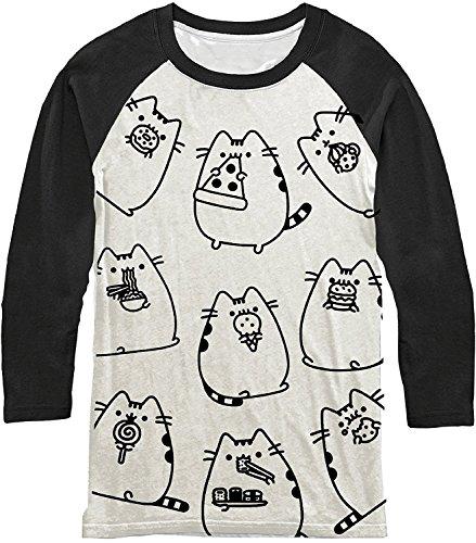 Pusheen The Cat Eating Food Raglan T-Shirt (Medium) ()