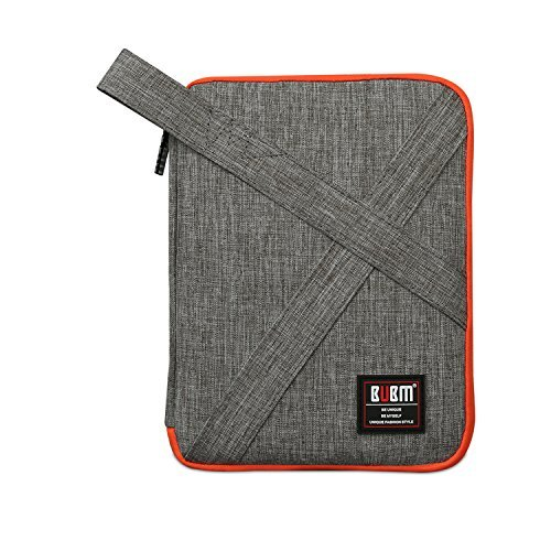 Travel Universal Electronics Accessories Organizer - Double Gadget Carrying Storage Bag, Cable Organizer Bag for Hard Drives, USB Cables, iPad Mini (Grey)
