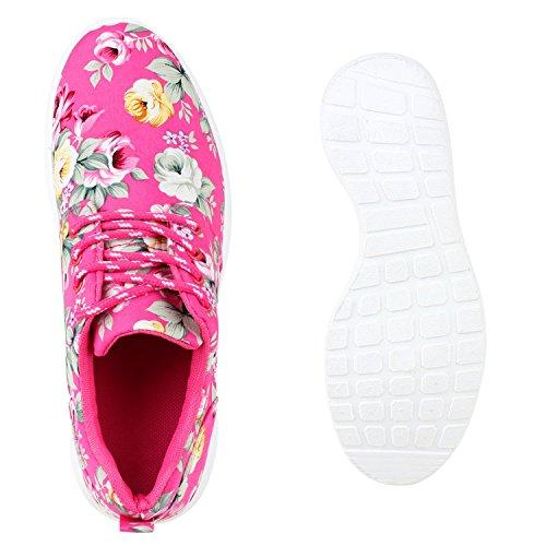 Stiefelparadies Damen Sportschuhe Neon Laufschuhe Runners Sneakers Fitness Schnürer Prints Blumen Übergrößen Flandell Pink Blumen