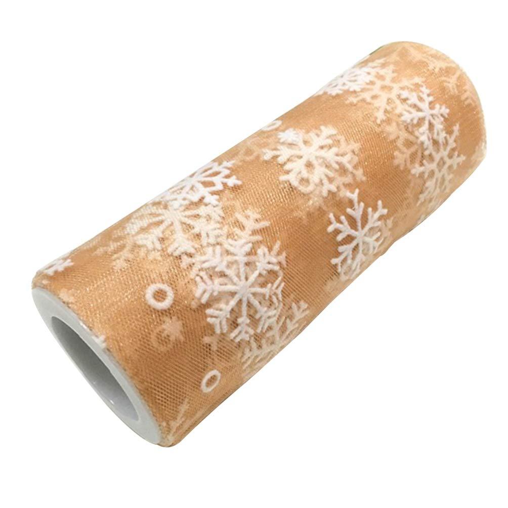 SUPVOX Rollo de Tul de Navidad con Copo de Nieve Purpurina Brillante para Decoraci/ón de Navidad Boda Cumplea/ños Manualidades DIY 15 cm 10 yardas