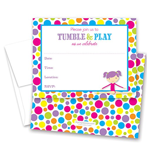 24 Gymnastics Girl Bright Polka Dots Border Fill-in Birthday (Gymnastics Birthday Party Invitation)