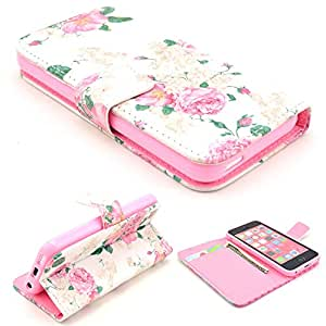 Highsound Nice Pink Silicone Mobile Phone Leather Case With Beautiful Flower For iPhone 5C
