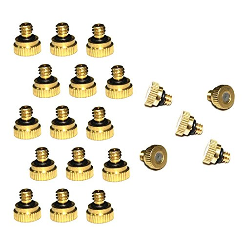 EONBON 20pcs/Pack 0.016'' Orifice (0.4mm) Thread UNC 10/24 Brass Misting Nozzles For Outdoor Cooling System, Low Pressure Greenhouse Mosquito Water Stainless Steel Mist Nozzle For Fog Spray Nozzle by EONBON