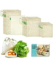 E-Know Produce Bags,11 Pack Reusable Produce Bags,Natural Mesh Cotton, Zero-Waste Produce Bags,Durable Double-Stitched Seams 3 Small,4 Medium, 3 Large,1 Storage Bag