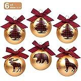 KI Store Glass Christmas Balls Set of 6 Christmas Tree Ball Ornaments Decorations 3.15-Inch Large with Red Plaid Bows Xmas Winter Woodland Theme Decor