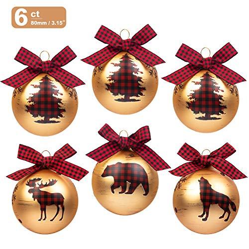KI Store Glass Christmas Balls 6ct Christmas Tree Decorations 3.15-Inch Large Ball Ornaments Red Plaid Bows Xmas Winter Woodland Theme Decor