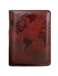 Kandouren RFID Blocking Passport Holder Cover Case,Travel Luggage Passport Wallet Made with Brown World Map PU Leather for Men & Women