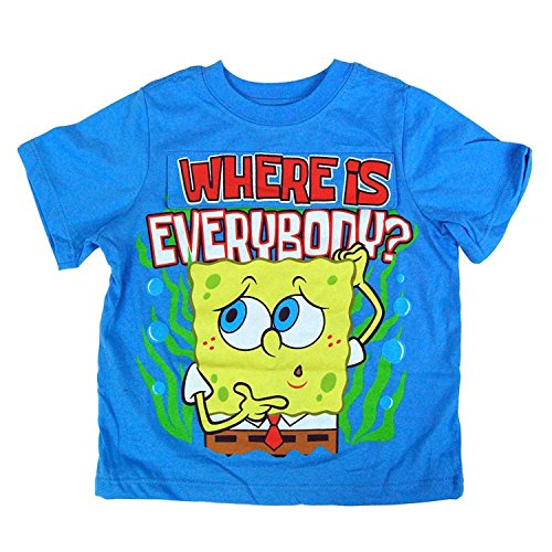 Spongebob Printed T-shirts (Nickelodeon Spongebob Squarepants Toddler Blue Flap T-Shirt (2T, Blue))