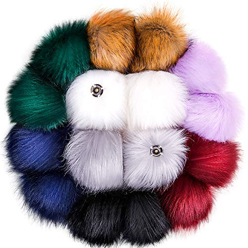 Tatuo DIY Faux Fur Pom Poms Ball with Press Button Removable Fluffy Pompom for Knitting Hats Shoes Scarves Bag Accessories (Mix Colors, 16)