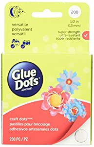 Glue Dots Craft Roll, Contains 200 ( .5 Inch) Adhesive Craft Dots (08165)