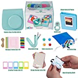 Accessories Bundle For Fujifilm Instax Mini 9/8 Camera - ICE BLUE Fuji 12 PC Kit includes Groovy Case/ Creative Hanging Frames/ Photo Album/ Filters/ Accessory Bag/ selfie lens/ 60 stickers/ Gift Box