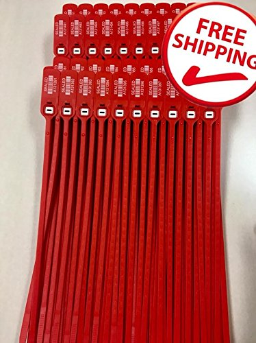 "Red Plastic Seals 2,000 Security Numbered Seal 16"" – Trucker/Trailer, standard containers truck –vans– doors – airline – duty-free shops – supermarkets – storage-controlling. Same day. A by AVG Packaging Supplies"