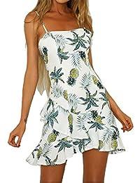 NANYUAYA Women Casual Pineapple Print Sleeveless Spaghetti Strap Short Mini Dress