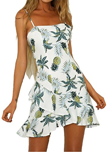LUKYCILD Women Pineapple Print Backless Short Dress Sleeveless Spaghetti Strap Mini Dress Size M (White)