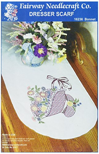 (Fairway 16236 Dresser Scarf, Bonnet Flower Basket Design, White, Perle)