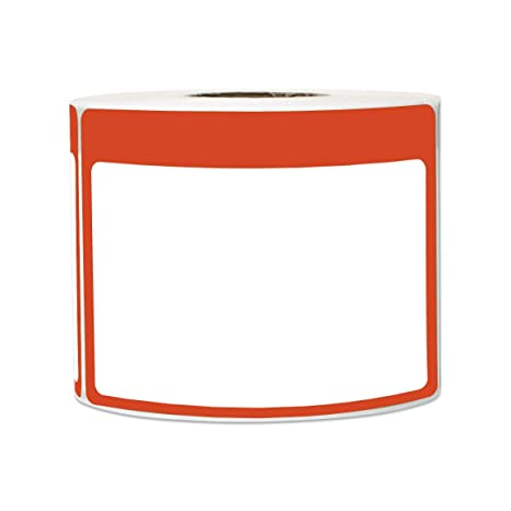 300 Labels - Name Tag Stickers Write-On Surface with Colorful Border for  Visitor Badges (3 5 x 2 25 Inch, Red, 1 Roll)