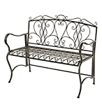 Outdoor Folding Metal Scroll Bench Antiqued Bronze Finish Deck Patio Yard Garden Furniture Easy Storage 44.5 L x 20.5 D x 36.25 H