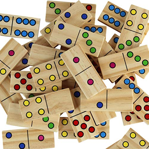 Dominoes for Kids - Wooden Dominos with Numbers - Math Domino Color Dots (Wood Set Dominoes)
