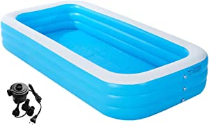 "CASEYDRESS Inflatable Swimming Pools, Blue Large 103"" X 69"" X 21"" Blow Up Kids and Adults Pool with Air Pump, Above Ground Pool Swimming Center for Backyard, Outdoor, Garden, Summer Water Party"