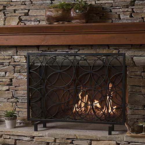 暖炉 スクリーン 大型メタルメッシュ火スクリーンガード - スパークガード/木材バーナー、ベビーセーフ証明(41.3x30.7中)のための屋外の単一のパネル立ち門