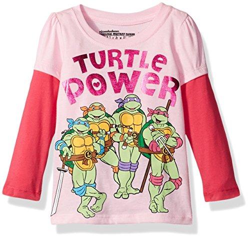 Teenage Mutant Ninja Turtles Little Girls' Toddler Short Sleeve T-Shirt, Light Pink/Hot Pink, 4T (Teenage Mutant Ninja Turtles Girls)