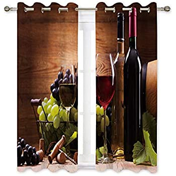 Amazon.com: Ambesonne Wine Kitchen Curtains, Wine Themed Collage on ...