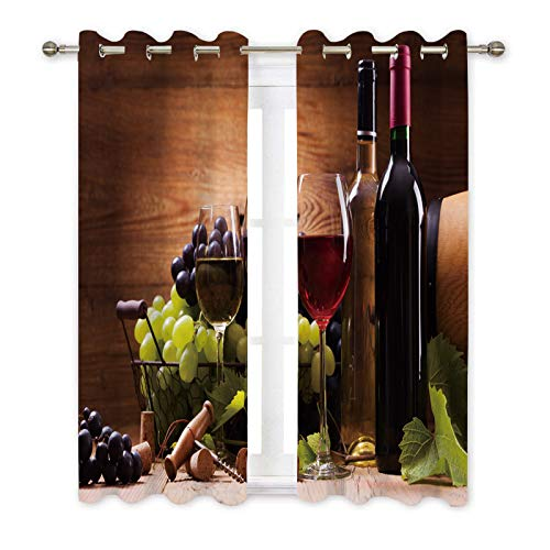Misscc Decorative Blackout Curtains,Glasses of Red and White Wine,Served with Grapes on a Wooden Background,Window Treatments Drapes for Living Room Bedroom Kitchen Cafe,2 Panel Set (Wine Grapes Decorative)