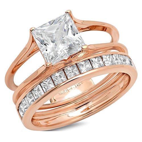 (Clara Pucci 3.3 CT Princess Cut Pave Halo Bridal Engagement Wedding Ring Band Set 14k Rose Gold, Size 10 )
