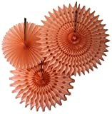 Hanging Honeycomb Tissue Fan, Peach, Set of 3 (13 inch, 18 inch, 21 inch)