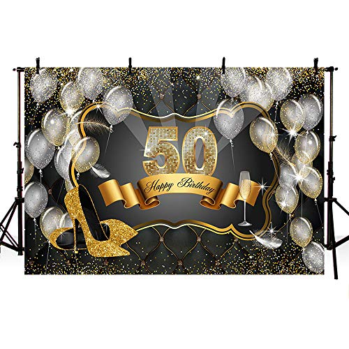 MEHOFOTO Glitter Gold Sequin Black Photo Background High Heels Feather Goblet Silver Balloons Woman 50th Happy Birthday Party Banner Backdrops for Photography 8x6ft