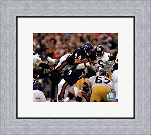 Walter Payton - Action, airbound Framed Art Print Wall Picture, Flat Silver Frame