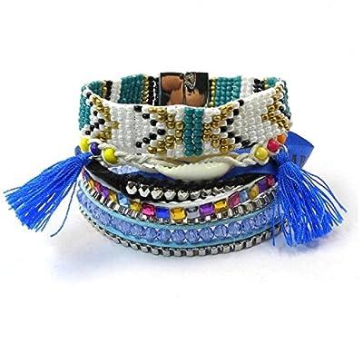 EQLEF Bracelet Brésilien tressé multicouche multicolore ethnique pour femmes en été