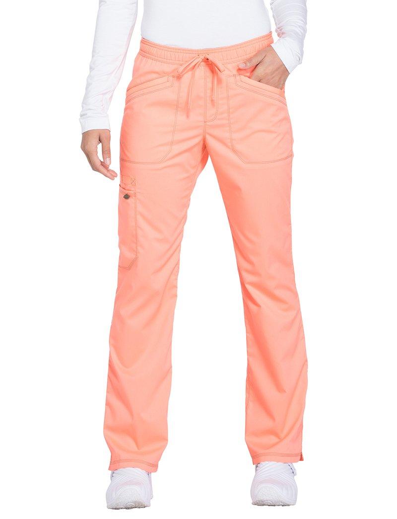 Dickies Essence by Women's Straight Leg Drawstring Scrub Pant Small Petite Orange Zest