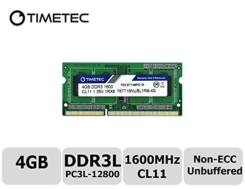 UPC 765441337671, Timetec Hynix IC 4GB DDR3L 1600MHz PC3L-12800 Non ECC Unbuffered 1.35V CL11 1Rx8 Single Rank 204 Pin SODIMM Laptop Notebook Computer Memory Ram Module Upgrade (High Density 4GB)