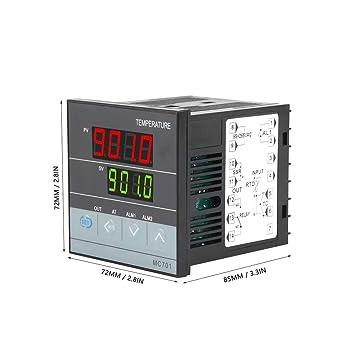 Walfront Digital PID Temperature Controller K Type PT100 Sensor Input Relay SSR Output,With 2 Bolts