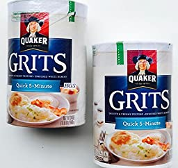 Quaker Hominy Grits 24 Oz (Pack of 2) for an Old Fashioned Breakfast, Cheese Grits and Recipes