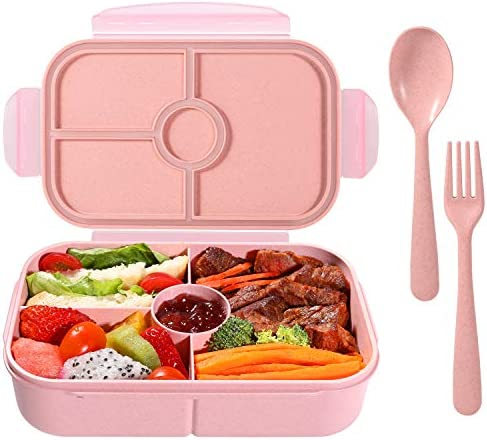 Bento Box for Kids Lunch Containers with 4 Compartments Kids Bento Lunch Box