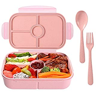 Bento Box for Kids Lunch Containers with 4 Compartments Kids Bento Lunch Box Microwave/Freezer/Dishwasher Safe (Flatware Included,Light Pink)