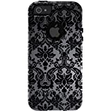 CUSTOM Black OtterBox Commuter Series Case for Apple iPhone 5 / 5S / SE - Silver Black Damask
