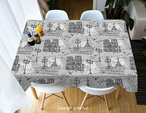HooSo Rectangle Table Cloth, Water Resistant Microfiber Tablecloth,