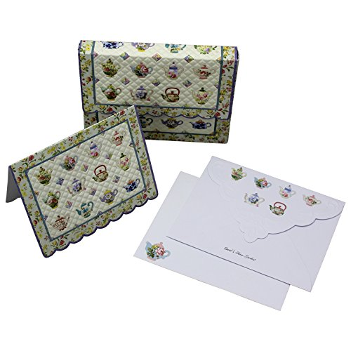 Teapot Quilt Embossed Set of 10 Blank Note Cards, Envelopes, and Mini Portfolio Pouch, Designed by Carol Wilson (One (1) Set)