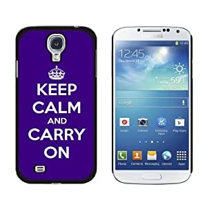 Keep Calm and Carry On Purple Snap-On Hard Protective Case for Samsung Galaxy S4 - Non-Retail Packaging - Black