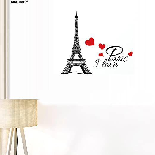 PARIS EIFFEL TOWER WALL DECALS Quote Room decor Stickers Decorations Black VL