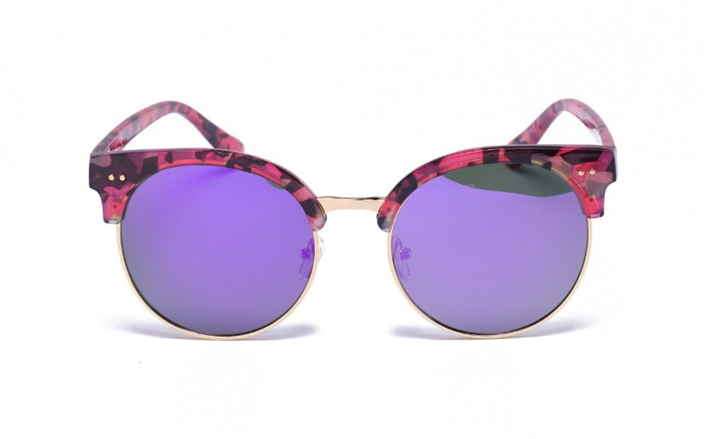 GAMT Summer Fashion Oversized Semi-Rimless Sun Glasses Round Circle Point Shades Sunglasses Cheap Floral-Purple Lens
