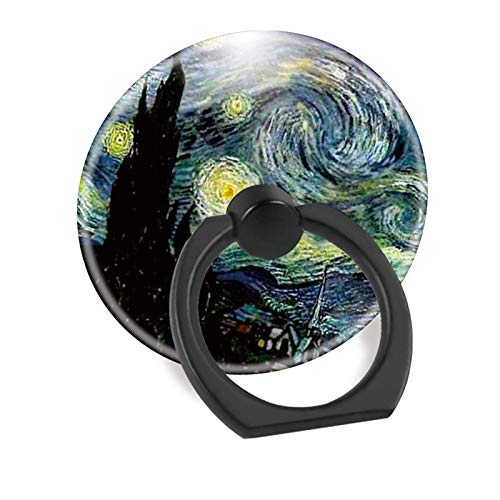 Cell Phone Ring Holder Finger Stand Car Mount Works for iPhone 5 6 7 8 X Plus Samsung Galaxy S8 S9 Ipad-Art Van Gogh Stary Night