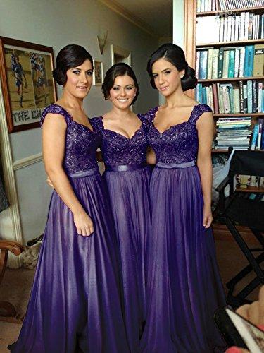 Linie Violett Elegant 32 Abendkleid Brautjungfernkleid A Damen Farben 46 Maxilang 8 Spitze Chiffon in pH1xIgq