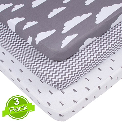 Best Deals! BaeBae Goods Jersey Cotton Fitted Pack n Play Playard Portable Crib Sheets Set | Grey an...