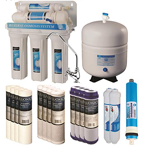 Bluonics 5 Stage Undersink Reverse Osmosis Drinking Water Filter System RO Home Purifier with NSF Certified Membrane with 4 years of Filter Supply - 15 total Filters