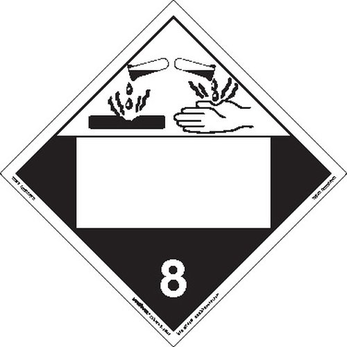 Labelmaster ZEZ4B Corrosive Hazmat Placard, Blank, E-Z Removable Vinyl (Pack of 25)